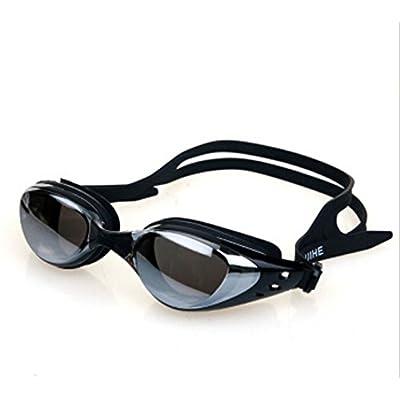 Ansel de anti-buée anti UV Lunettes Lunettes de natation Cadre confortable W/2Boucles de nez (Noir)