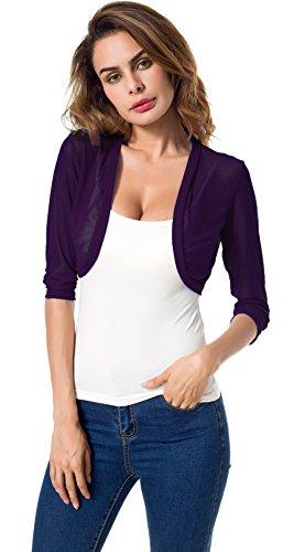 Tandisk Women's 3/4 Sleeve Bolero Sheer Chiffon Shrug Cardigan Purple XL