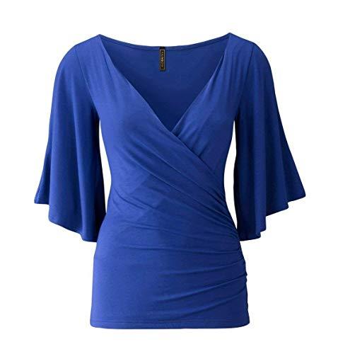 Unicolore Moderne Manches Femme 4 Tops Col Et Chemise Tee en 3 Maigre Mode Blau Party Shirt Profond V Elgante Chemisier Cocktail Chic Blouse Costume Manches Trompette 1Pnvwqqd