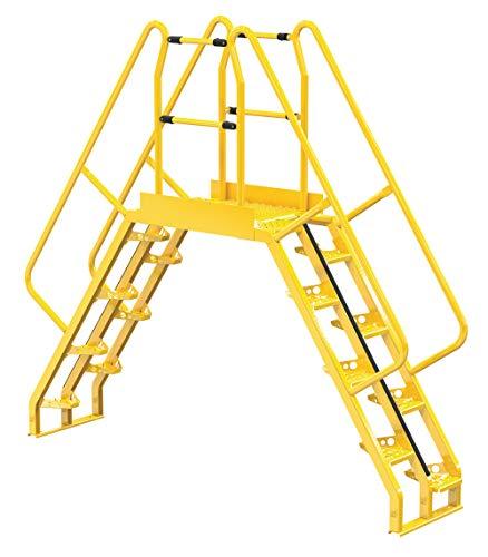 """Vestil COLA-5-56-32 Yellow Alternating Cross-Over Ladder, 113"""" x 103"""", 16, 350 lb. Capacity"""