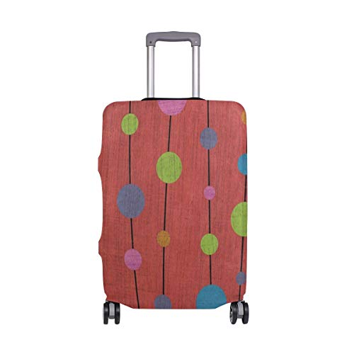 Suitcase Cover Abstract Polka Dot Wooden Luggage Cover Travel Case Bag Protector for Kid Girls