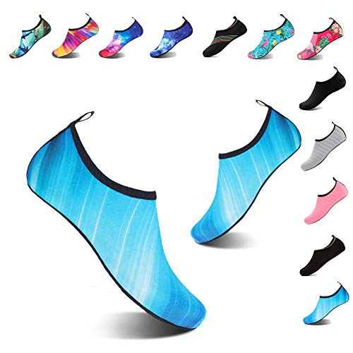 YALOX Water Shoes Women's Men's Outdoor Beach Swimming Aqua Socks Quick-Dry Barefoot Shoes for Surfing Yoga Pool Exercise(JM-Blue,40/41EU) ()