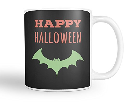 Hot Devil Babe Costumes (Happy Halloween Coffee Mug - Scary Green Bat - 11oz White Tea Cup)