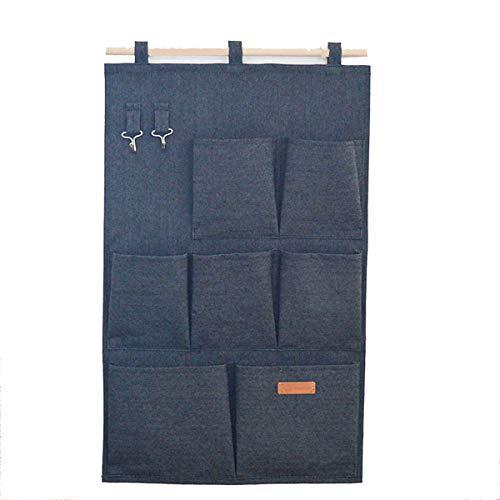 Denim Toy Bag (SMART HOME CHEF Denim Fabric Over Wall Door Closet Window Hanging Storage Case Organizer Bag 7-Pocket Wall Hanging Multipurpose Accessory Organizer with 2 Hooks)