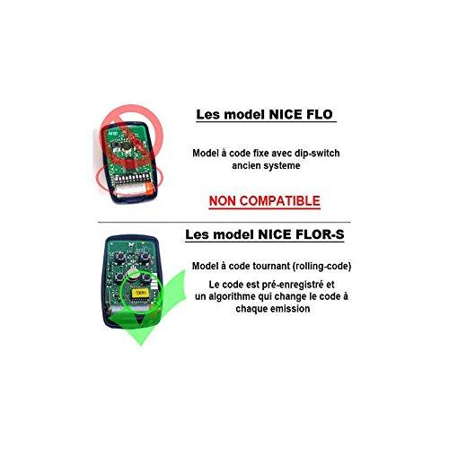 HD-LINE 1X Ditec pour Porte de Garage V2 Nice Flor-s telecommande 433 MHZ /à rolling code
