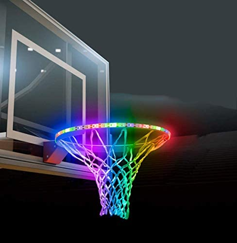 Scoteep Solar LED Basketball Hoop Lights, LED Basketball Rim Light Ideal for Kids Adults Parties and Training Waterproof 8 Modes Multicolor for Playing at Night Outdoors