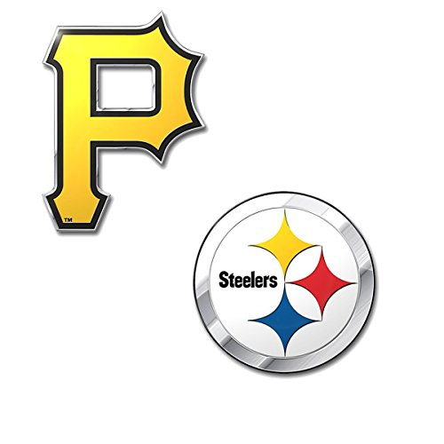 (Rico Official Licensed Sports Teams Chrome Outlined Colored Auto Emblem, Pitsburg Steelers - Pirates)
