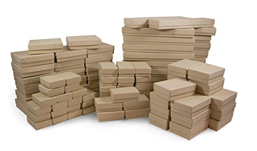 Cotton Filled Jewelry Box Assortment in Kraft