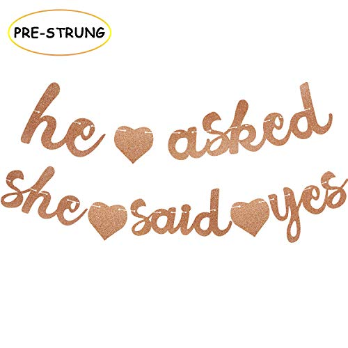 He Asked She Said Yes Banner Bachelorette Garland Rose Gold Glitter Bridal Shower Engagement Valentine's Day Party Decorations (Rose Gold) ()