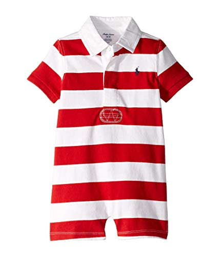 Ralph Lauren Baby Boys Shortalls Bodysuit Striped Smooth Cotton (12 Months, RL2000 Red/White) (White Striped Shortall)