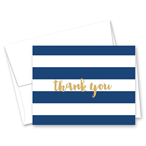 50 Horizontal Stripes Script Thank You Cards (Navy-Gold)