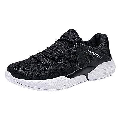 PLENTOP Men Casual Shoes Lightweight Mesh Breathable Lace-up Non-Slip Platform Sneakers