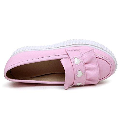 TAOFFEN Mujer Moda sin Cordones Plano Boca Baja Zapatos Casual Mocasine Zapatos Rosado