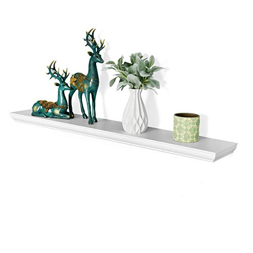 WELLAND Wilson 48 Inch Floating Shelves, White Floating Wall Shelf for Bedroom and Bathroom, Mounting Hardware Included, 48