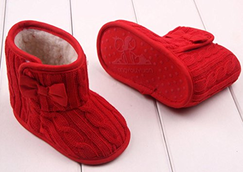 Boots Warm Bowknot Zolimx Schuhe Kinder Rot Stiefel Sole Baby Winter Soft ZFqxw5Ea5