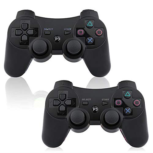 - PS3 Wireless Controller 2 Pack Sixaxis Double Shock Bluetooth Gaming Controller for Sony Playstation 3 w/Charging Cord (PS3 Controller 2 Pack, Whole Black)