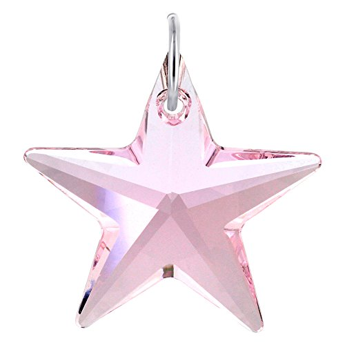 Gem Avenue 925 Sterling Silver Star Pink Crystal 27mm Charm Swarovski Elements Pendant (Silver Star Charm Necklace)