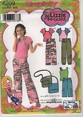 Simplicity 4209 Pattern Girls' and Girl's Plus Pants in Two Lengths, Bag and Knit Top and Shrug Sz AA (8-16)