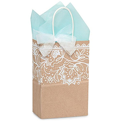 Lace Borders Paper Shopping Bags - Rose Size - 5 1/2 x 3 1/4 x 8 3/8in. by NW