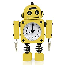 Betus [Non-ticking] Robot Alarm Clock Stainless Metal - Wake-up Clock with Flashing Eye Lights and Hand Clip - 4.5 x 6.5 x 2 (Yellow)