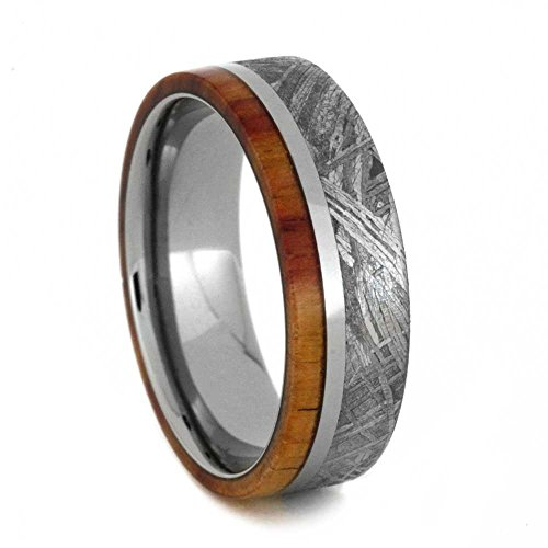 Gibeon Meteorite, Tulip Wood 7mm Comfort-Fit Titanium Wedding Band, Size 10 by The Men's Jewelry Store (Unisex Jewelry)
