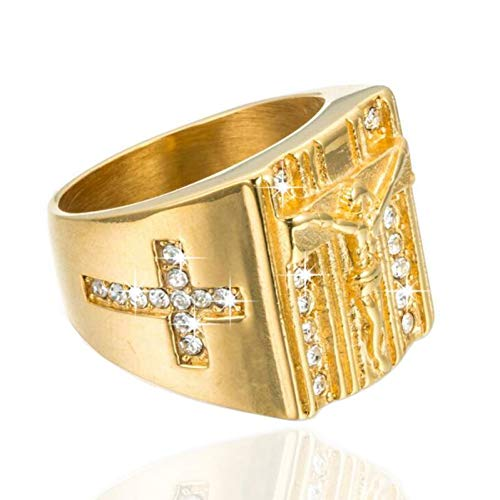 HMKYX Jewelry Cross White Cubic Zirconia Ring for Men Gold Tone Stainless Steel Crucifix Band Male Jewelry