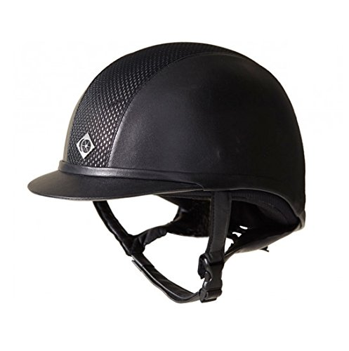 Charles Owen Leather Look AYR8 Riding Helmet - Size:07 Color:Black/Silver