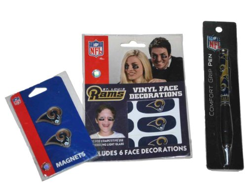 St. Louis Rams Siskiyou Face Decorations, Magnets, and Pen Gameday Set by Siskiyou