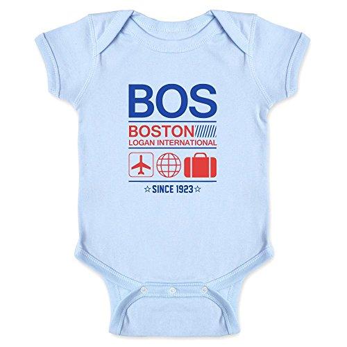 Bos Boston Logan Airport Code Since 1923 Travel Light Blue 6M Infant Bodysuit