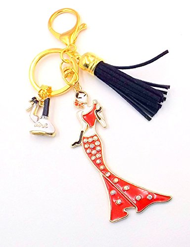 Red Gold Glamour Girl Keychain Purse Bag Charm Women's Pocketbook Black Tassel -