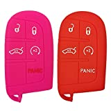 2Pcs Coolbestda Key Fob Protector Keyless Cover Remote Case Bag for Jeep Grand Cherokee Dodge Challenger Charger Dart Durango Journey Chrysler 300