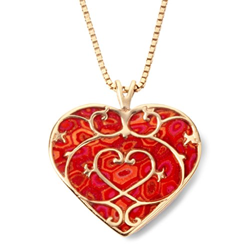 Gold Plated Silver Heart Fleur de Lis Necklace Handmade Red Polymer Clay Jewelry, 16.5