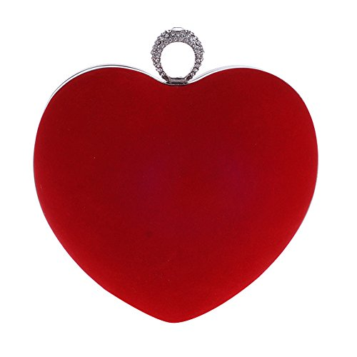 Yealize Women's Heart Shaped Clutch Purse Velvet Evening bag Solid Color Handbag the Valentine's Day - Red Heart Handbag