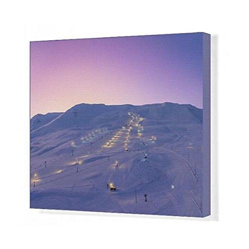 20x16 Canvas Print of Ski slopes at twilight, Akureyri, Iceland (13293841) by Media Storehouse