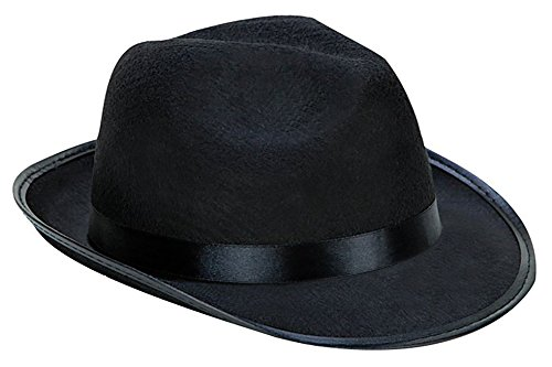 [Kangaroo Black Fedora Gangster Hat] (Cheap Indiana Jones Costumes)