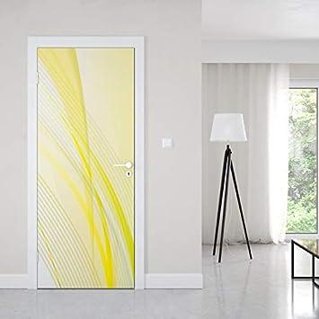 T/ürtapete selbstklebend T/ürPoster T/ürfolie Gelbe Linien Fototapete T/ürfolie Poster Tapete 88 cm x 200cm