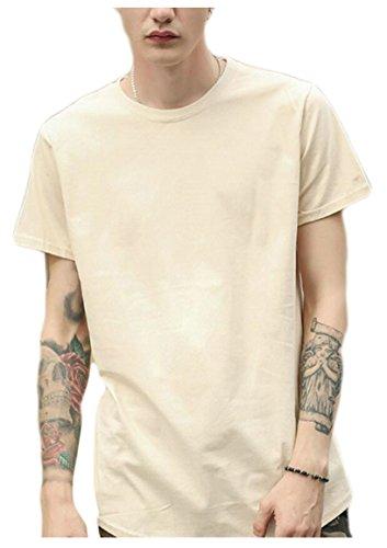M&S&W Men's Fashion Clothing Plus Size Hip Hop Basic Solid Color T Shirt Khaki S ()