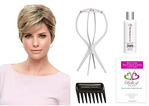 (Rose - Synthetic Lace Front Single Mono. Wig by Jon Renau,Stand,Comb,Mara Ray 4oz Luxury Shampoo,19 Page Belle of Hope Wig Care Booklet-5pc Bundle (12FS12) )