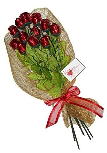 FavorOnline One Dozen Valentine's Red Chocolate Roses Bouquet Gift of Long Stem 19-inch with Personalized Card ()