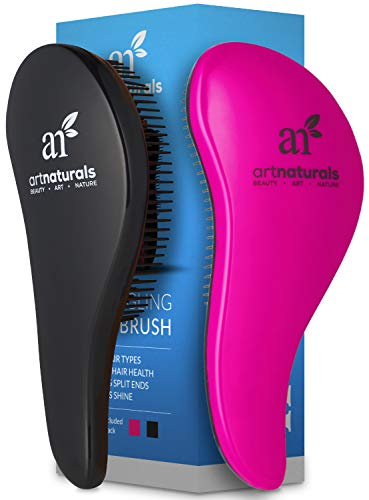 (ArtNaturals Detangling Hair Brush Set - (2 Piece Gift Set - Pink & Black) - Detangler Comb for Women, Men and Kids - Wet & Dry - Removes Knots and Tangles, Best for Thick and Curly Hair - Pain Free)