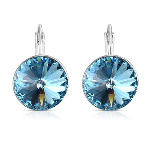 Unique Royal Jewelry Swarovski Crystal Bella French Wire Clip Pierced Post Drop Designer Earrings. (Beach)
