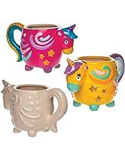 """Baker Ross Porseleinen beker """"Einhorn"""" (2 stuks) – eenhoornfiguren voor kinderen om te versieren en te beschilderen"""