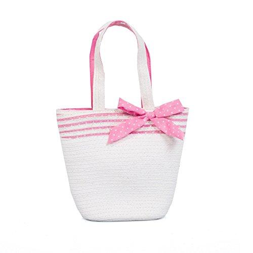 Boutique, Cute Divertido Novedad Niña Paja Bolso De Mano, Múltiple Diseños Lazo Blanco