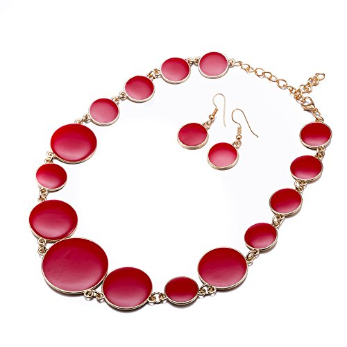 - DiLiCa Women Statement Bib Necklace and Earring Set Girl Charm Costume Choker Novelty Enamel Jewelry Set Red (Red)
