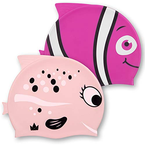 The Friendly Swede Kids Silicone Swim Caps for Girls and Boys, with Fun Animal Print (2 Pack) (Pink Fish) ()