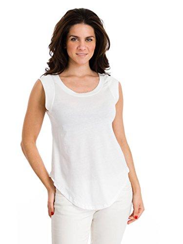 Cap-Sleeve Crew Tee, White, X-Large (Solid Womens Cap Sleeve T-shirt)