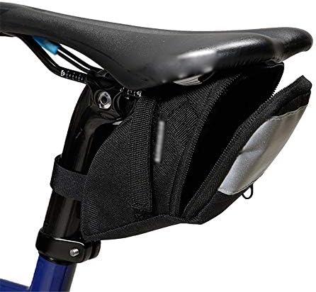 自転車用サドルバッグ サイクルサドルパックポータブル反射自転車パニエバッグmtb自転車シート収納バッグ用ナイトサイクリング MBTまたはロードバイクシート用 (Color : Black, Size : 18*6*8.5cm)