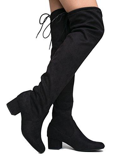 Vegan Suede Round Toe-Low Block Heel Topline Lacing-Over The Knee Boot 9