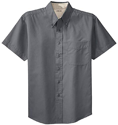 Joe's USA - Men's Short Sleeve Wrinkle Resistant Easy Care Shirts-M Steel Grey/Light Stone