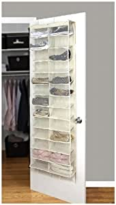 Simplify 26 Pocket Over-The-Door Shoe Organizer, Ivory